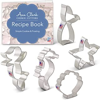 product image for Ann Clark Cookie Cutters 5-Piece Mermaid Cookie Cutter Set with Recipe Booklet, Mermaid, Mermaid Tail, Starfish, Seahorse, Seashell