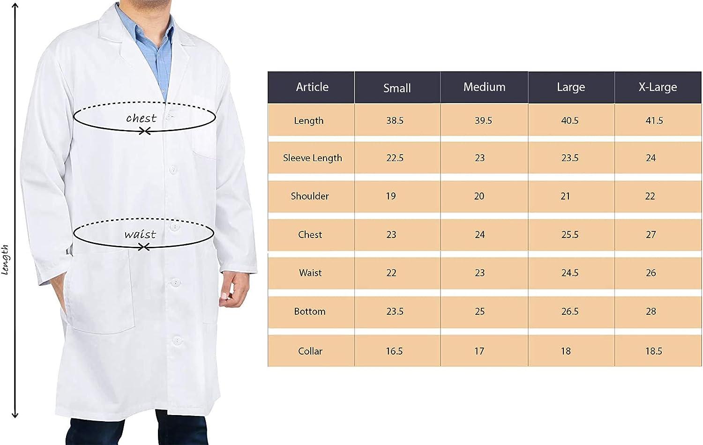 Utopia Wear Professional Lab Coat Men - Laboratory Coat 41 Inch Kick Pleat (White): Clothing