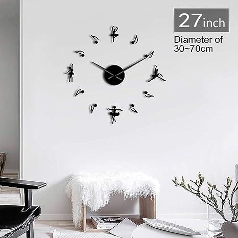 CNCN 1 Pieza Bailarinas DIY Reloj de Pared Grande Moderno Reloj Ballet Dance 3D Espejo Gran