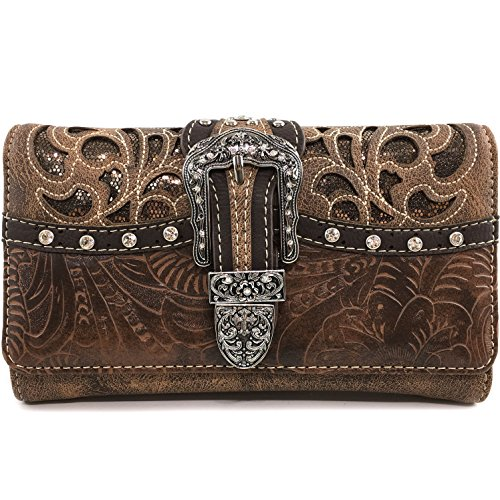 Justin West Gleaming Laser Cut Rhinestone Buckle Studded Concealed Carry Handbag Purse (Bronze Wallet Only) ()