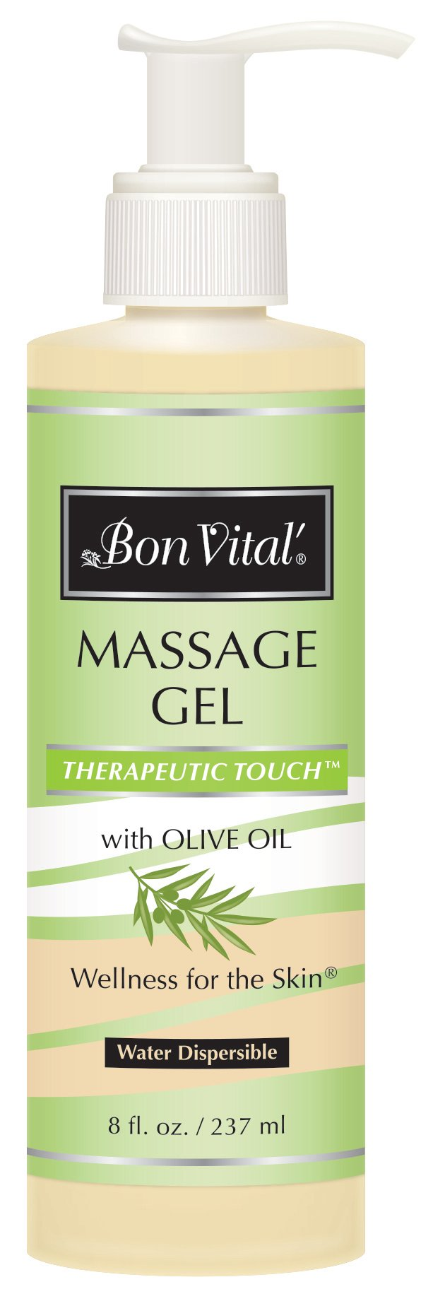 Bon Vital' Therapeutic Touch Massage Gel Made with Olive Oil to Repair Dry Skin and Soothe Sore Muscles, Contains Anti-Aging Properties to Calm Skin Inflammation and Reduce Apperance of Wrinkles, 8 Oz