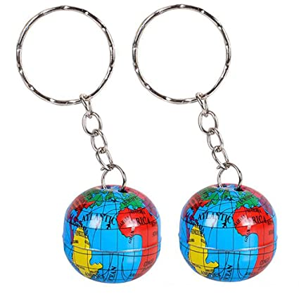 """Kicko 1"""" Globe Keychain - 48 Pack Mini Backpack Hook for Travelers -  Keyring for Bag and Belt Loop Accessory, Back to School Item, Arts &  Crafts,"""