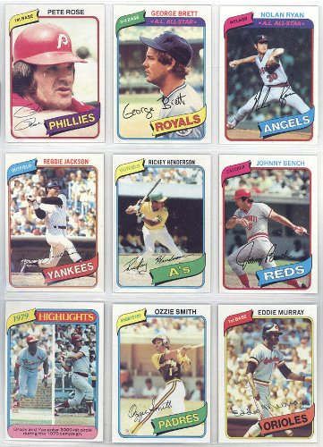 - This Is the 1980 Topps Baseball Complete Near Mint 726 Card Hand Collated Set; It Was Never Issued in Factory Form. Features Rickey Henderson's Rookie Card #482. Loaded with Stars and Hall of Famers Including George Brett, Nolan Ryan, Mike Schmidt, Yaz, Yount, Rose, Ozzie Smith and Many Others!