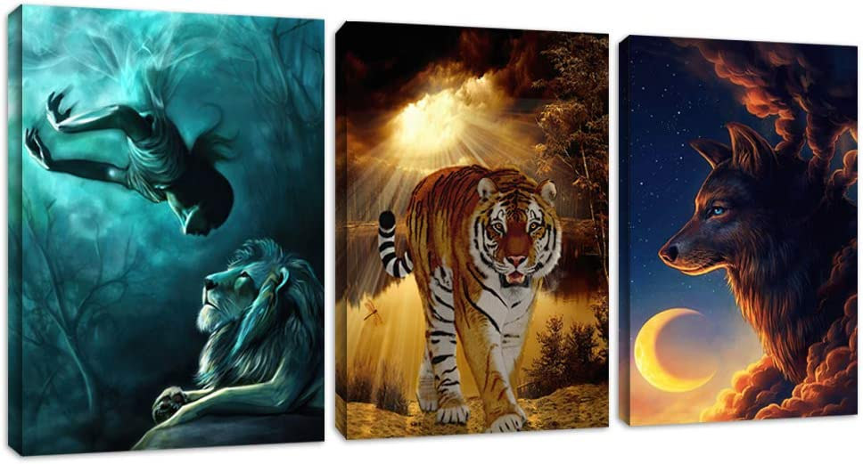 "Wolf Wall Art Poster Prints Wall Decor Abstract 3 Pieces Animals Canvas Painting Tiger Lion Picture Artwork Home Office Bedroom Living Room Wall Decoration Framed Ready to Hang(36""Wx16""H)"