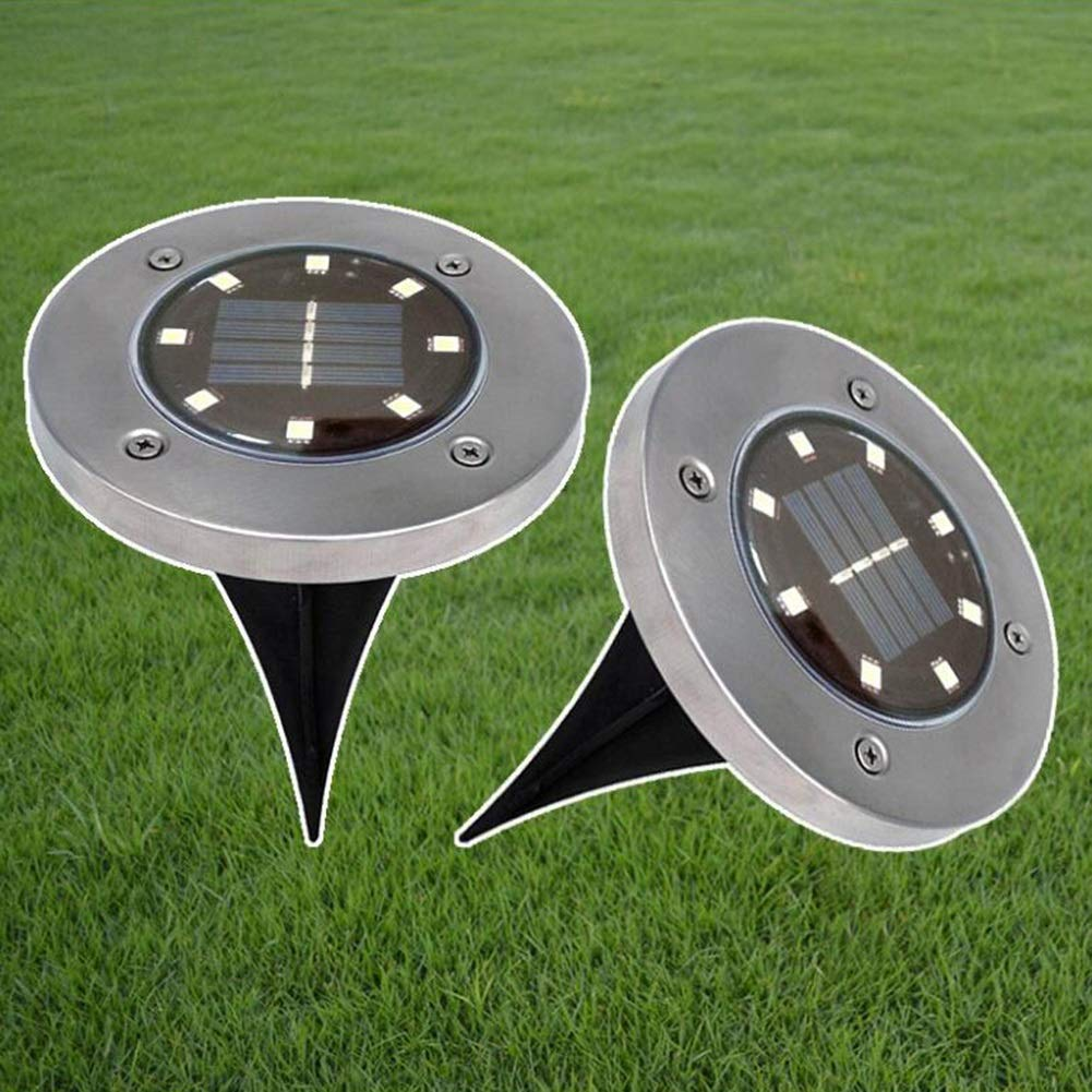 Suguoguo Wasserdichtes 8 LED-Solarlicht, angetriebene LED für Bodeneinbauleuchte im Freienpfad-Licht-Landschaftsgarten-Yard-Rasenweg-Einfahrt, 2pcs (Farbe : Warmes Licht)