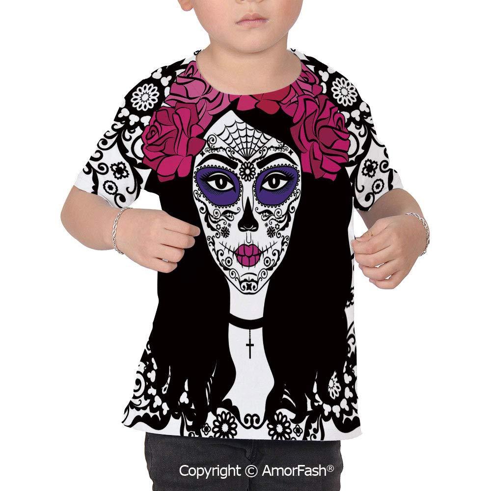 Sugar Skull Decor Over Print T-Shirt,Boy T Shirt,Size XS-2XL Big,Girl with Sugar