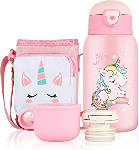 CHANSBO Kids Water Bottle, NON-Toxic Leak Proof Thermoses Stainless Steel Vacuum Cup with Straw BPA Free Insulated Water Flask with Carrier Holder Shoulder Strap and Spare Cover Lid (Pink - 17oz)