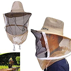 AMAZZANG -Beekeeping Beekeeper Cowboy Hat Mosquito Bee Insect Net Veil Face Head Protector