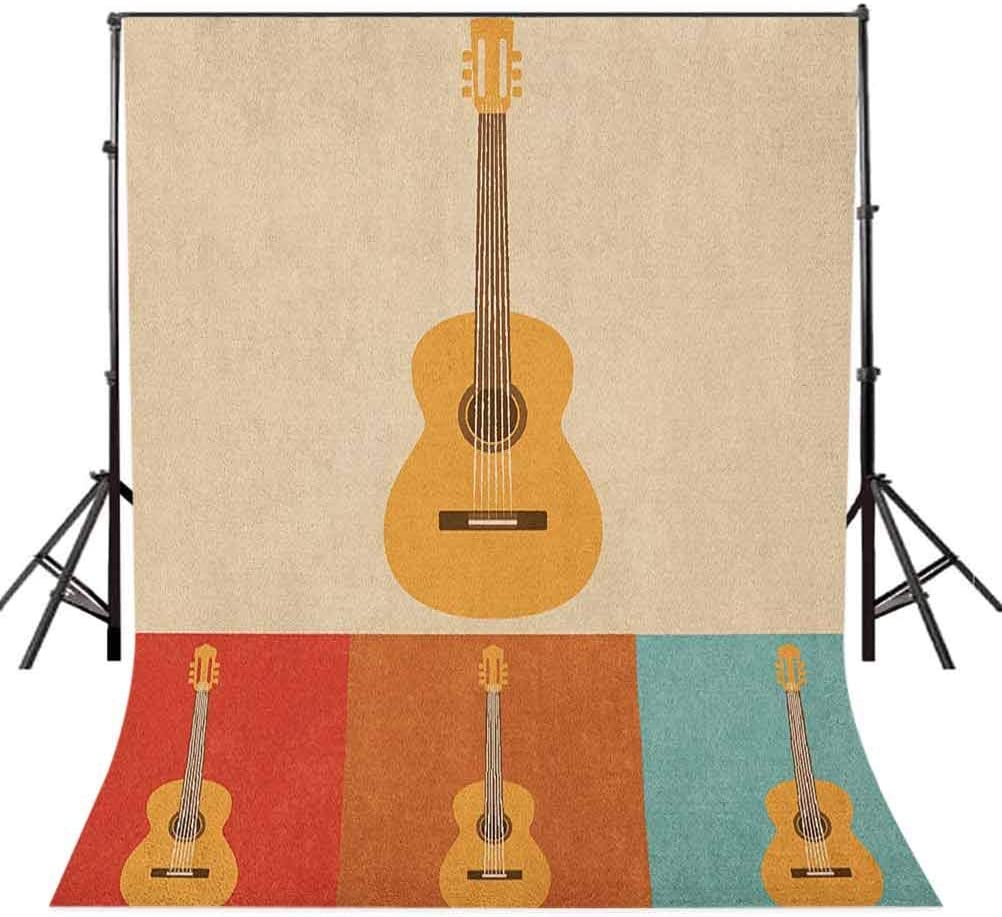 7x10 FT Vinyl Photography Backdrop,Retro Icons Acoustic Guitars in Colorful Frames Nostalgic Music Stringed Instrument Background for Graduation Prom Dance Decor Photo Booth Studio Prop Banner