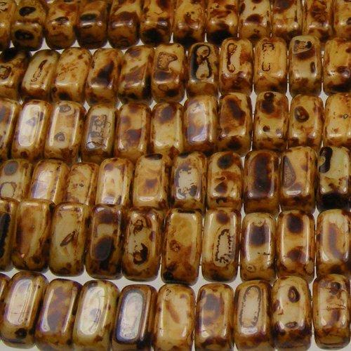 Czechmate 2mm X 6mm Brick Glass Czech Two Hole Bead - Opaque Light Beige Picasso (50 beads) - Glass Bead Bricks