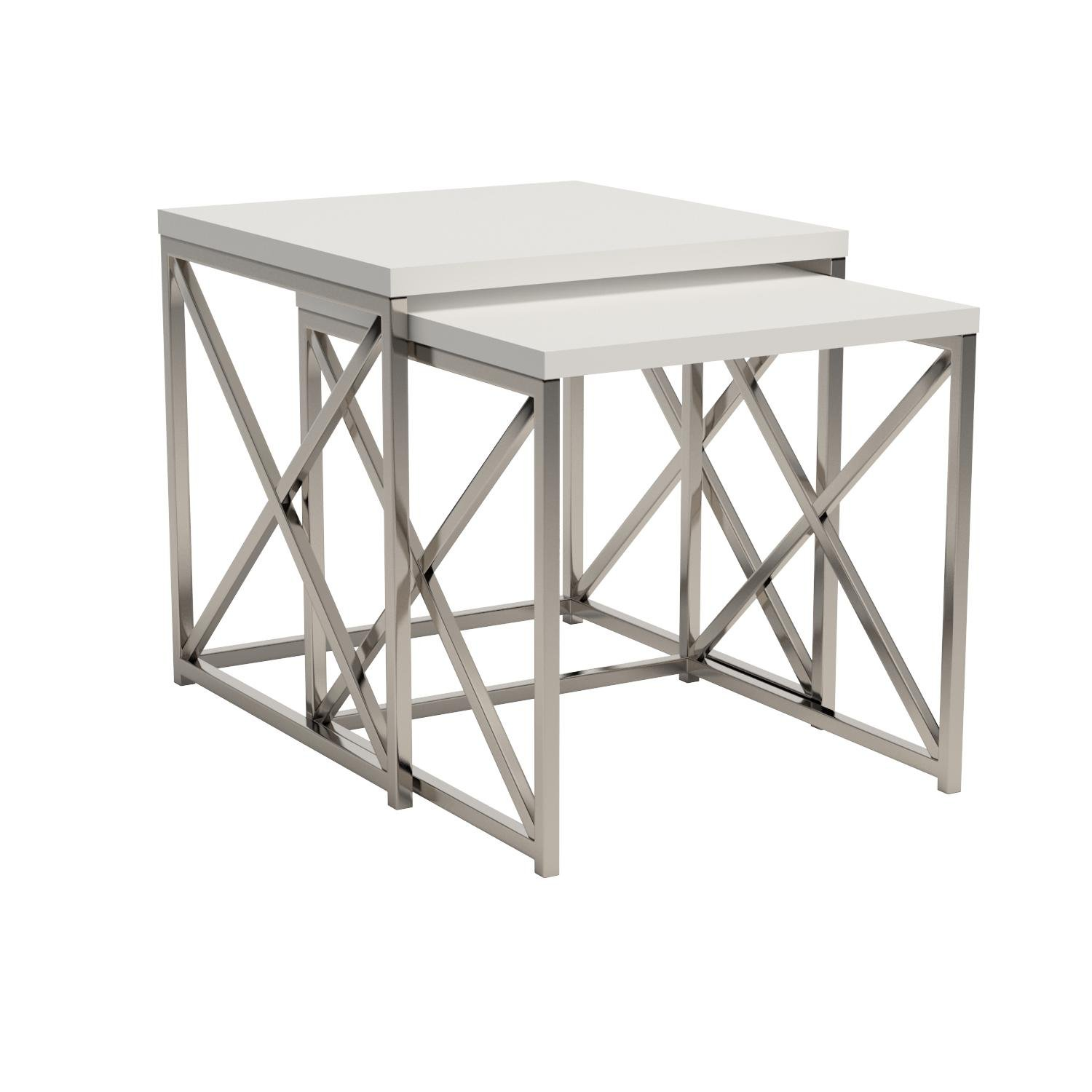 Monarch Specialties I 3025, Nesting Table, Chrome Metal, Glossy White, Table Set, 2 pcs by Monarch Specialties