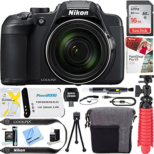 Nikon 26510B COOLPIX B700 20.2 MP 60x Optical Zoom Super Telephoto NIKKOR Digital 4K Wi-Fi Camera (Black) – (Certified Refurbished) + 16GB SDHC Memory & Accessory Bundle