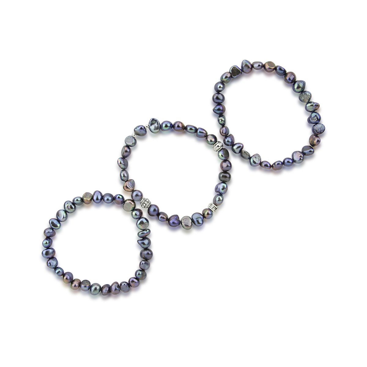 Genuine Freshwater Cultured Pearl 7-8mm Stretch Bracelets with Base-Metal-Beads Set of 3 7.5