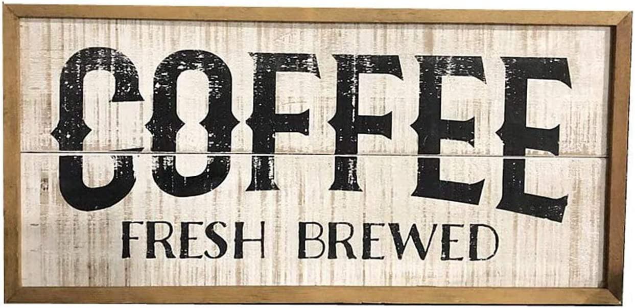 Rustic Wood Framed Coffee Sign, Decorative Wood Coffee Wall Plaque for Kitchen Coffee Bar, Farmhouse Style Home Decor, 23