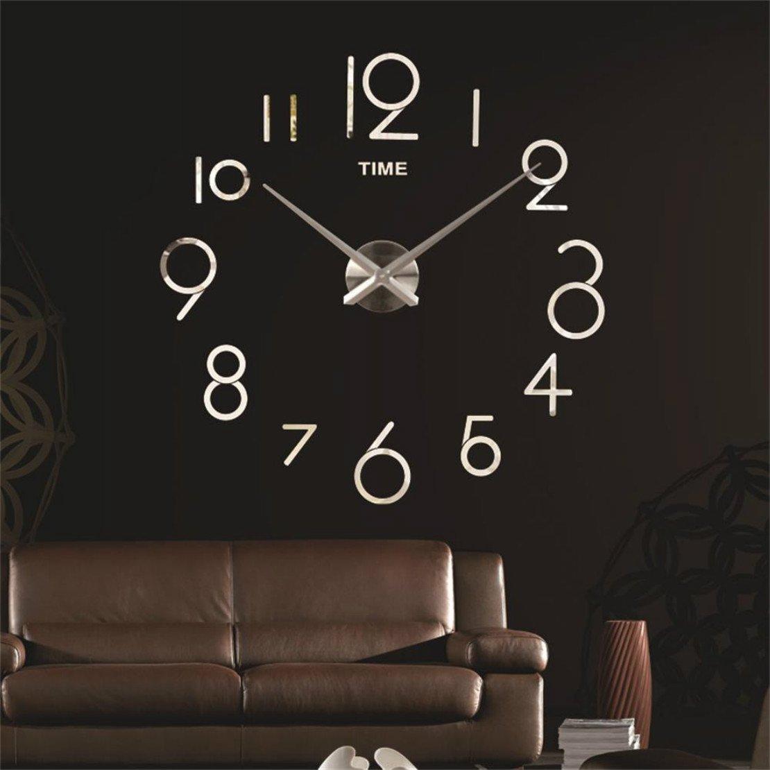 3D Wall Clock DIY Large Sticker Modern Frameless Home Decor Silver Mirror For Bedroom Living Room Office Kitchen Bar Art Digital Clock Plate