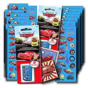 Disney Cars Stickers Party Favors ~ Set of 2 Sticker Packs ~ 16 Sheets Over 380 Disney Cars Stickers Plus Bonus Reward Stickers ~ Lightening McQueen Mater Doc and More!