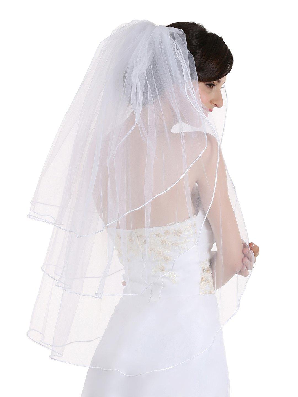 "3T 3 Tier Sattin Rattail Cord Edge Bridal Wedding Veil - White Color Fingertip Length 36"""