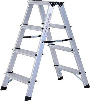 Escalera de mano de aluminio, doble escala, plegable, ligera, con patas antideslizantes, 4 x 2 peldaños, carga máxima de 150 kg, color plateado: Amazon.es: Bricolaje y herramientas