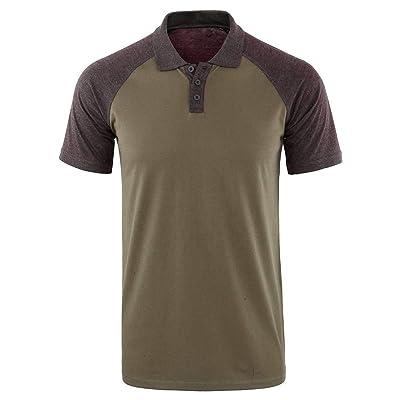 WINJUD Mens T Shirts Color Block Raglan Sleeve Henley Short Sleeve Button Turn-Down Collar Top at Men's Clothing store