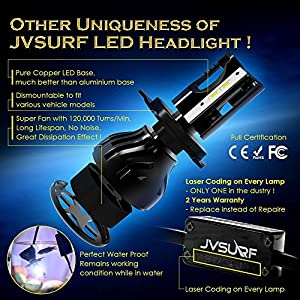 8000 Lumens LED Car Headlight Bulbs Conversion Kit JVSURF Extremely Bright Headlamp - H11 (H1,H3, H4,H7) - 30W, 6000K Cool White CREE and Far Dual Use- 2 Yr Warranty (H1, Black)