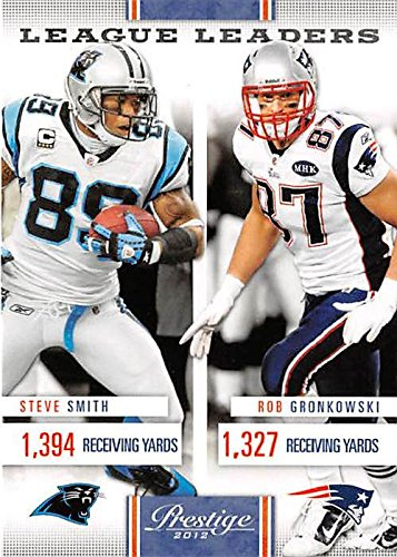 Rob Gronkowski and Steve Smith football card (Patriots Panthers) 2012 Prestige #11 Receiving Yards Leaders - Steve Smith Autograph