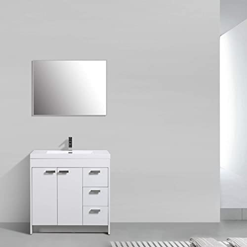 Eviva EVVN900-8-36WH Lugano 36 inch White Modern Integrated Acrylic Top Bathroom Vanities, 36