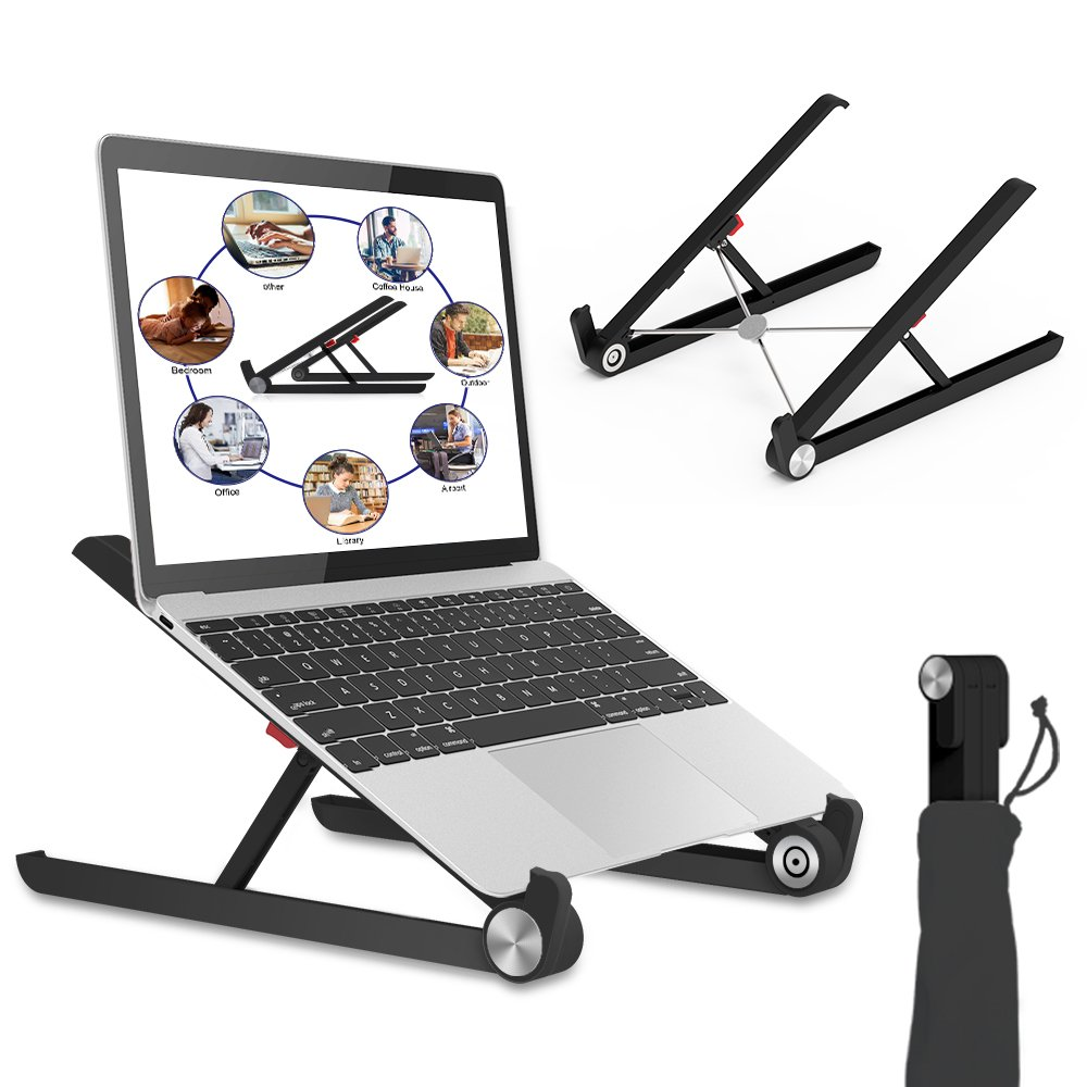 Laptop Stand, Portable Laptop Stand, Foldable Desktop Notebook Holder Mount, Adjustable Eye-Level Ergonomic Design, Portable Laptop Riser for MacBook, Notebook Computer PC iPad Tablet EURPMASK (BL)