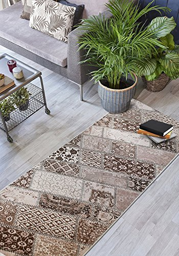 Custom Size Hallway Runner Rug, Slip Resistant, 31 inch Wide X Your Choice of Length, Patchwork, Brown, 31 inch X 16 feet by ORFA HOME