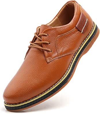 TSIODFO Men's Dress Shoes Black Brown Genuine Cow Leather Oxfords Business Casual Shoes