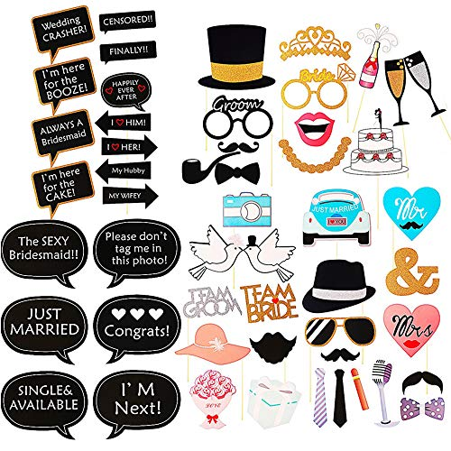 Wedding Photo Booth Props Kit, Bridal Shower Photo Booth Prop for Wedding Shower Party Supplies (52 Counts)