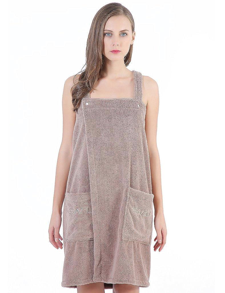 Women Spa Bath Towel Wrap, Shower Robe - Plush Soft Cotton Bathrobe,XL Brown SANLI