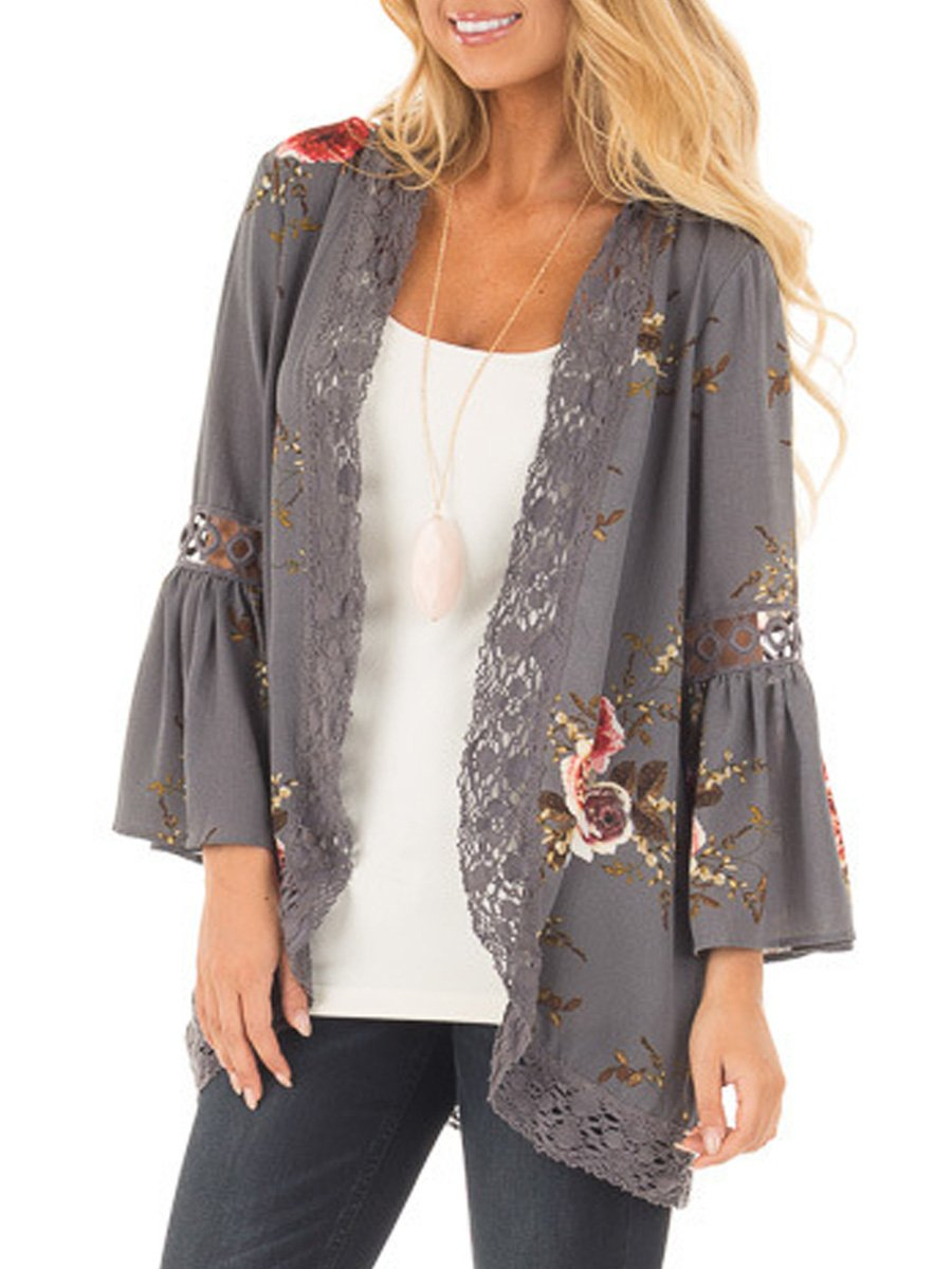 Nekosi Womens Floral Loose Bell Sleeve Kimono Cardigan Lace Patchwork Cover up Blouse Top Gray 3XL