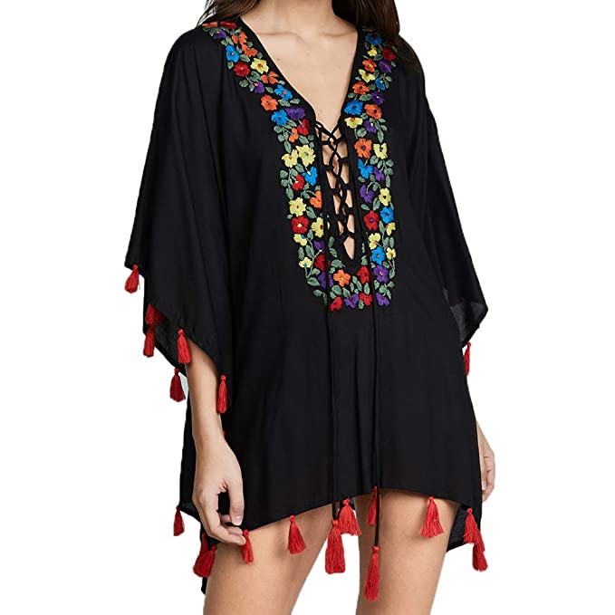 fa8c21c711 MOOSLOVER Women's Floral Flowy Kimono Cover Up Cardigan Long Rayon Beach  Dress(Black-1