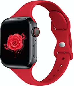 STG Sport Band Compatible with Apple Watch 38mm 40mm 42mm 44mm, Soft Silicone Slim Thin Narrow Replacement Strap Compatible for iWatch SE Series 6/5/4/3/2/1 (Red, 38/40mm)