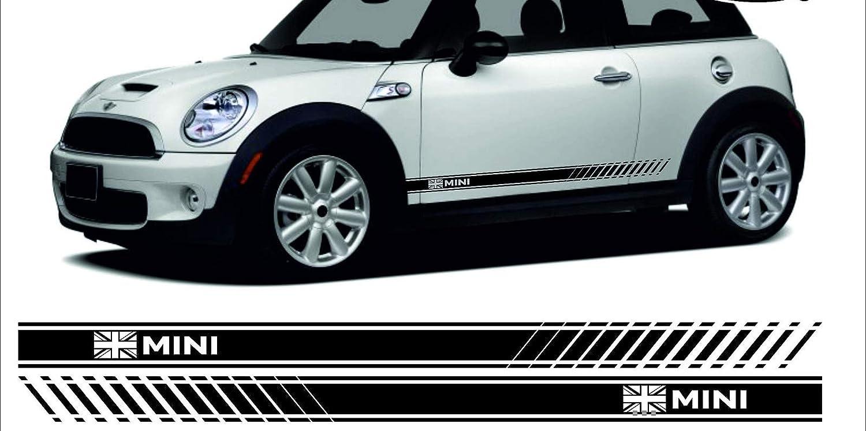Supersticki Mini Cooper Seitenstreifen Racing Stripes Rallyestreifen Union Jack Beidseitig Aufkleber Autoaufkleber Tuningaufkleber Hochleistungsfolie Für Alle Glatten Flächen Uv Und Waschanla Auto
