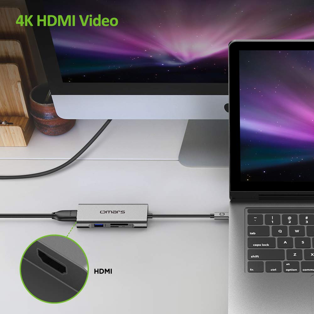 3*USB-A 3.0 ports Micro SD//TF card reader slot HDMI 4K port USB C Hub PD 60W Omars 7 in 1 Type C adapter Dongle for HW MateBook USB C to HDMI Adapter 4K USB C Power Delivery port