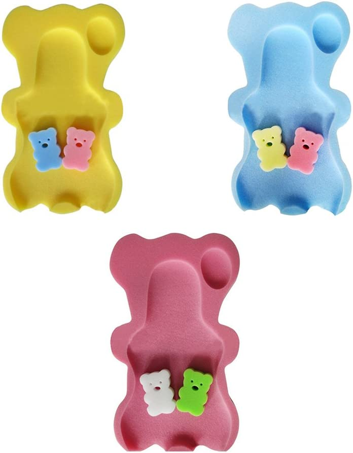 Baby Bath Mat Non-slip Sponge Mat in Teddy Bear Shape Bath Tub Support for Newborn Babies Blue