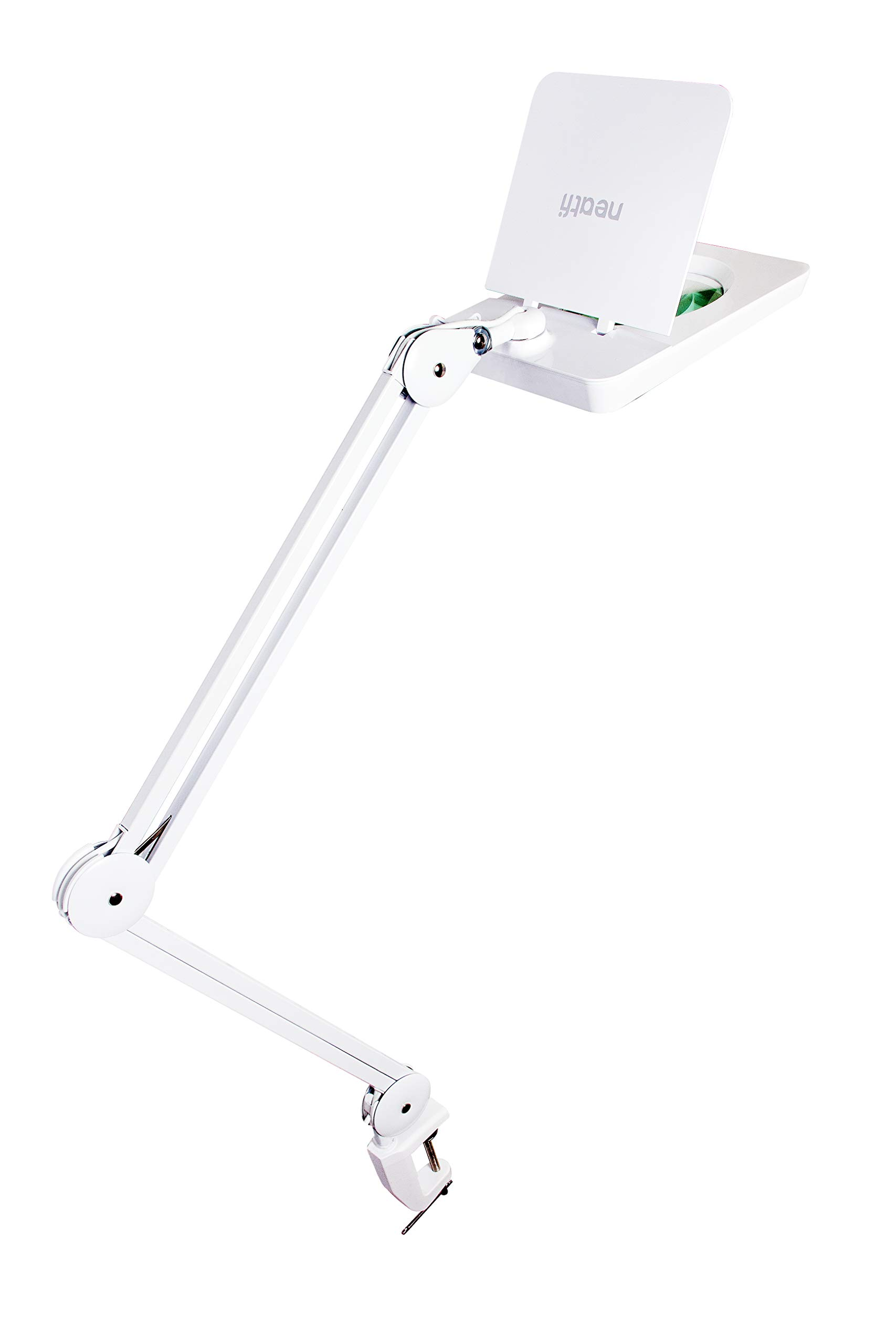 (New Model) Neatfi SS 1,200 Lumens Super LED Magnifying Lamp with Clamp, Square Shaped Mag Lamp, Dimmable, Hands Free, Glare Free, Dimmable, 14W, 60 Pcs SMD LED, 5 Diopter, 5 Inches Diameter Lens