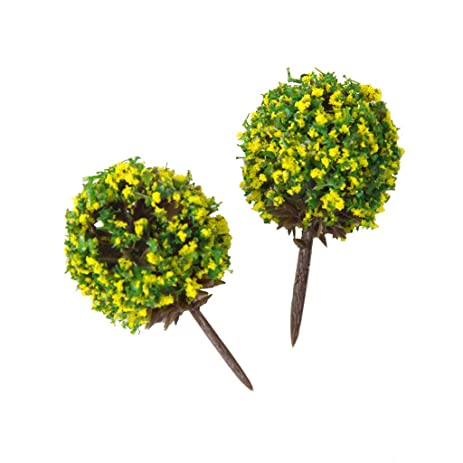 Amazon 50pcs 1100 yellow flower model train trees ball shaped 50pcs 1100 yellow flower model train trees ball shaped scenery landscape mightylinksfo