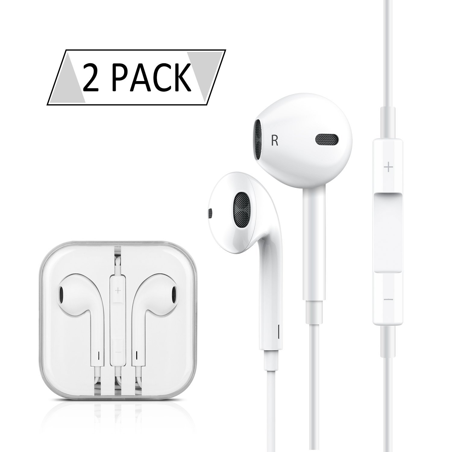 2-PACK Premium Earphones/Earbuds/Headphones/Earpods with Stereo Mic&Remote Control for iPhone iPad iPod Samsung Galaxy and More Android Smartphones Compatible With 3.5 mm Headphone【White】