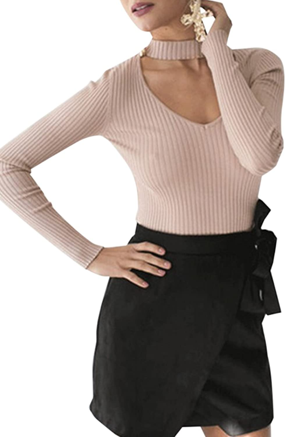 Women's Sexy Choker V neck Long Sleeve Ribbed Knitted Sweater Tops