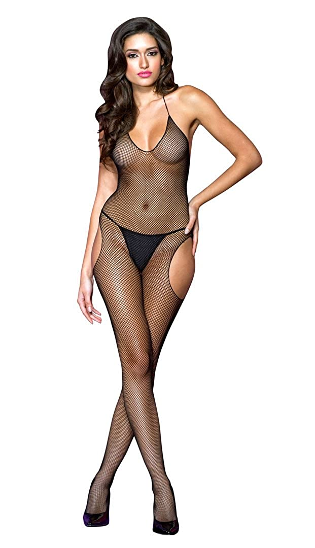 Music Legs Women's Halter Fishnet Suspender Crotchless Bodystocking Black One Size 1624