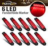"Partsam 10Pcs Red 6 LED Side Marker Indicators Rear Tail light Trailer Truck Lorry HGV, 3.8"" Red LED Clearance Markers Thin Marker lights Mount, Marine Led Utility Strip Light for Boats 12 Volts"