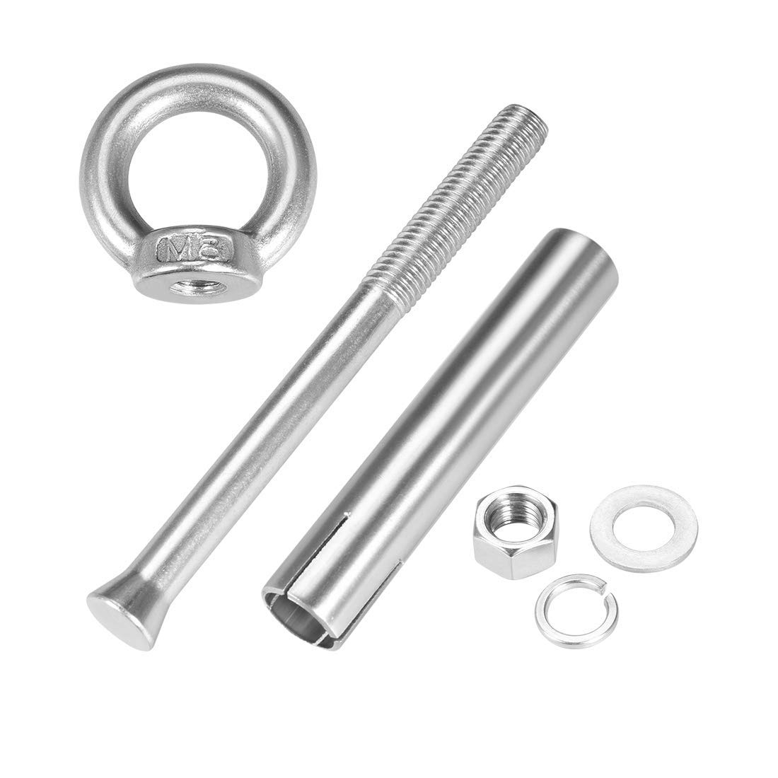 M8 x 100 Screw nut with Expansion Eye Bolt with Ring 304 Stainless Steel Anchor Rough Bolts 1 Piece