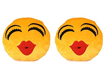 Deals India Kiss Smiley Cushion - 35 cm(smiley3&3)Set of 2
