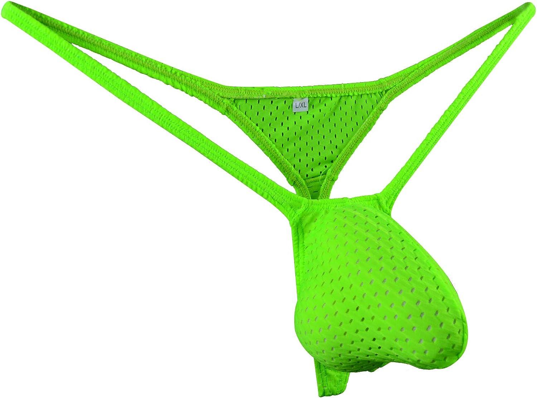 WOSESE Mens G-String Bulge Pouch Thongs Eyelet T-Back Bikini WSS52