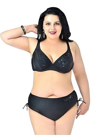 c74c9f8bb762 UDreamTime Women's 2-pieces Plus size Embroidery Swimwear Bikini set ...