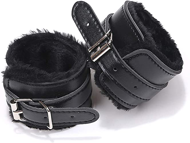 Wrist Faux Leather Hand Cuffs Bracelet Leg Cuffs Role Play Exercise Adjustable Chain for Women Girls Party 4 Set
