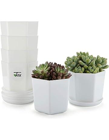 T4U 10.2CM Macetas de Vivero Plastico con Plato, Maceteros Pequeños para Cactus Suculento Blanca