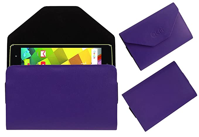 Acm Flip Flap Pouch Case Compatible with Videocon Cube 3 Mobile Leather Cover Purple Mobile Accessories